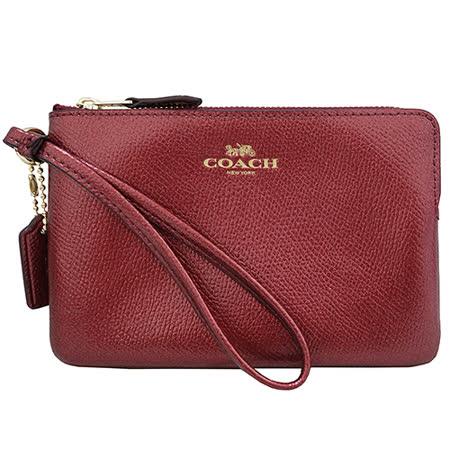 COACH 馬車Logo防刮皮革L型手拿包(金屬紅)