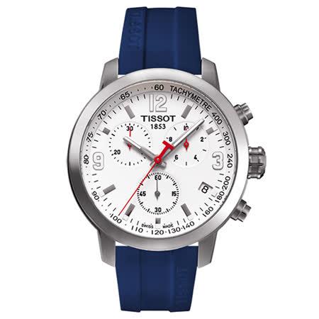 TISSOT 天梭 PRC 200 三眼運動時尚計時腕錶(/42mm/T0554171701701
