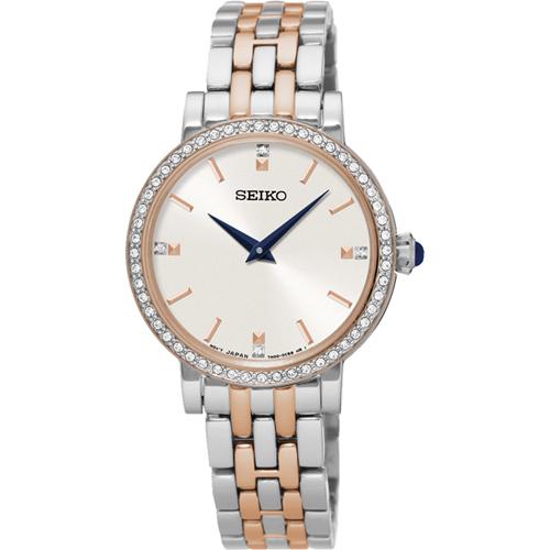 SEIKO CS 晶鑽品味 女錶~銀x雙色29mm 7N00~0BJ0KS^(SFQ810