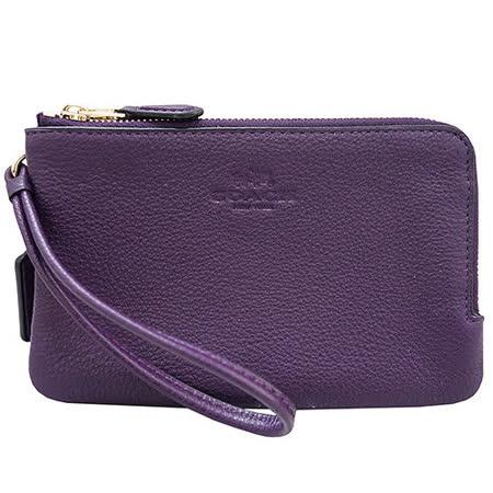COACH 壓印LOGO荔枝紋L型雙層手拿包(紫色)