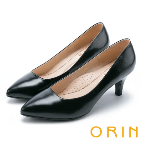 ORIN 典雅輕熟OL 羊皮素面百搭尖頭跟鞋-黑色