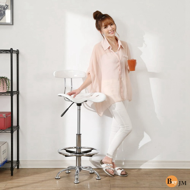 BuyJM曲線壓克力一體成型吧台椅餐椅高腳椅