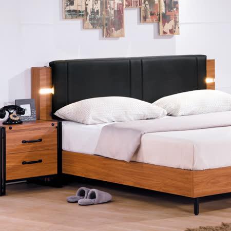 優力格家具-伊森工業風5尺床頭片/含LED燈