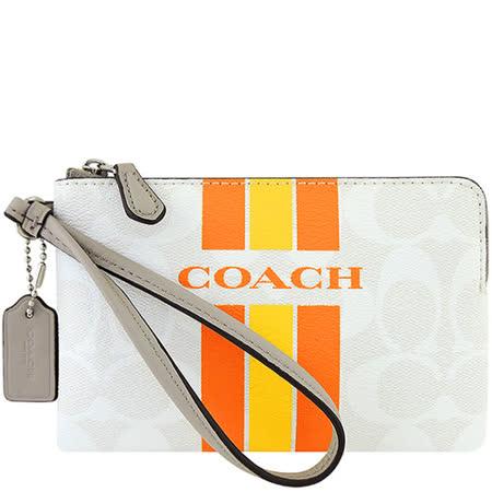 COACH 大C條紋PVC手拿包-白色