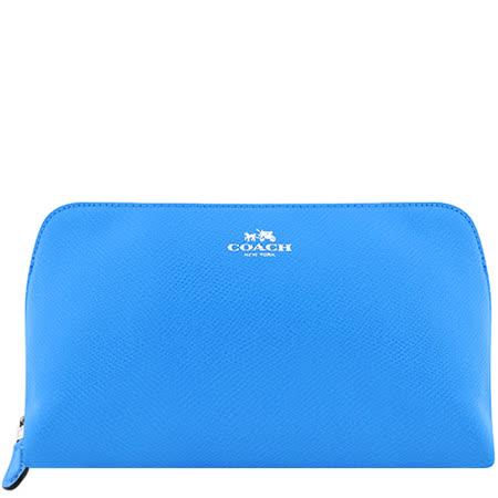 COACH 馬車防刮皮革化妝包-大型/藍色
