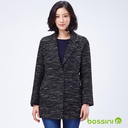 bossini女裝-針織長版大衣外套11黑