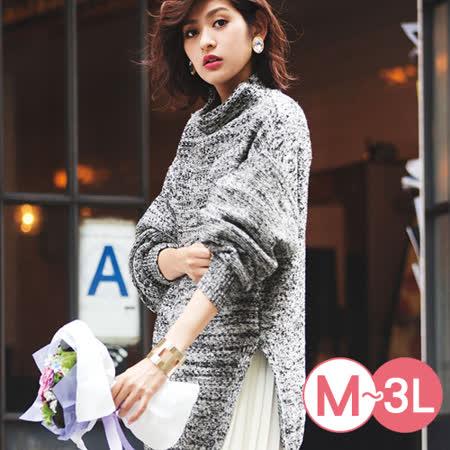 日本Portcros 預購-高領花紗開衩長版針織上衣(M-3L)