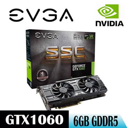 【EVGA艾維克】GTX1060 6GB SSC GAMING(06G-P4-6267-KR)顯示卡