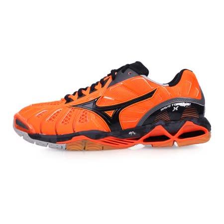 (男) MIZUNO WAVE TORNADO X 排球鞋-美津濃 螢光橘深灰