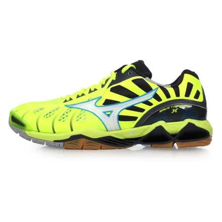 (男) MIZUNO WAVE TORNADO X 排球鞋-美津濃 螢光黃藍