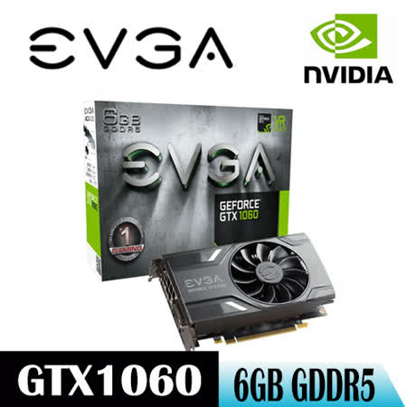 【EVGA艾維克】 GTX1060 REF 6G ACX 2.0 GDDR5 (06G-P4-6161-KR)顯示卡