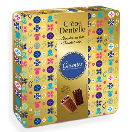 Les Gavottes 樂緹‧綜合巧克力薄餅捲鐵盒禮盒-金420g