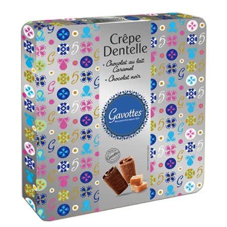 Les Gavottes 樂緹‧綜合巧克力薄餅捲鐵盒禮盒-銀420g