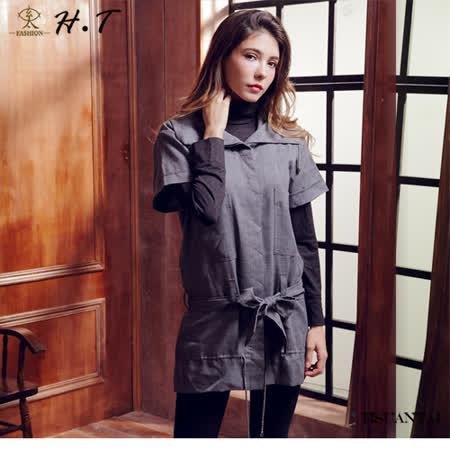 玄太-簡約造型領腰部綁繩長版上衣 (灰)