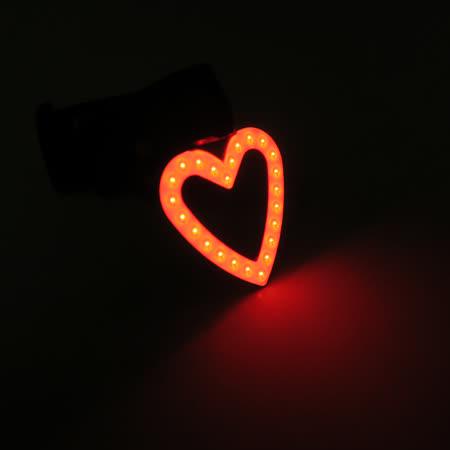 BIKEGUY COB 紅光LED警示燈2段模式造型後燈-愛心型