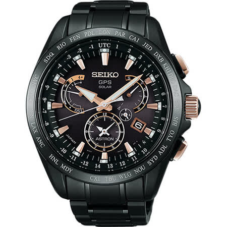 SEIKO 精工 8X53 鈦金屬黑金霸主時尚電波腕錶/45mm-8X53-0AB0P