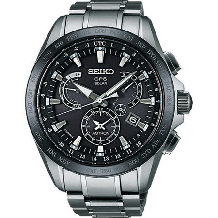 SEIKO 精工 ASTRON GPS 時尚三眼鈦金屬男用腕錶/45mm/8X53-0AB0C