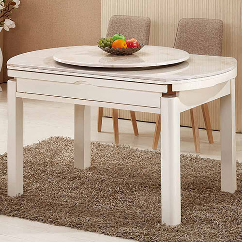 AT HOME~團圓白色橢圓原石摺桌^(不含轉盤^)