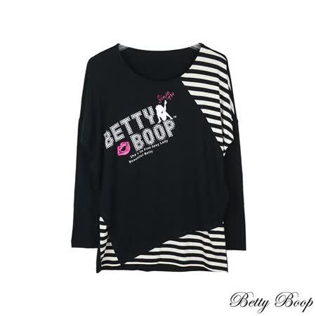 【Betty Boop貝蒂】條紋拼接落肩圓領T恤(黑色)