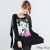 【Betty Boop貝蒂】設計款兩穿造型上衣(黑色)
