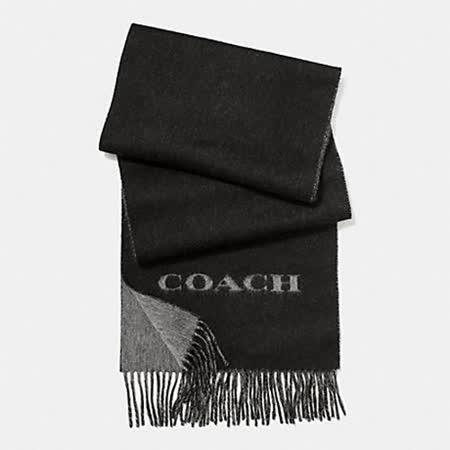 COACH經典素面羊毛圍巾/披肩(黑灰)