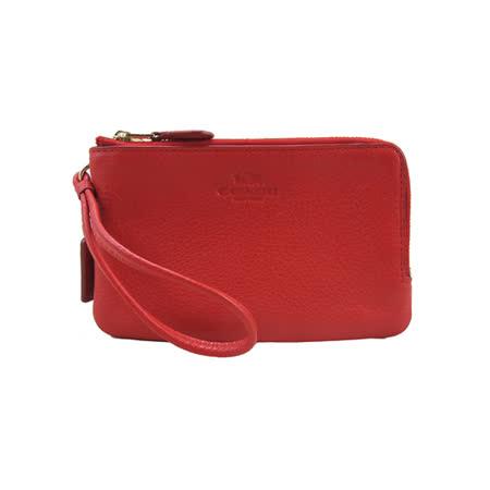 COACH送原廠提袋- 新款皮革雙拉鍊L型手拿包(紅)