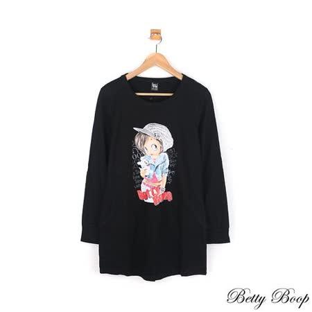 【Betty Boop貝蒂】純棉雙口袋圓領長版上衣(黑色)