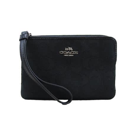 COACH 送原廠提袋-新款金屬馬車手拿包(框框黑)
