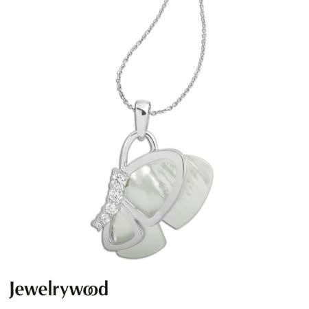 Jewelrywood 純銀蝴蝶飛舞珍珠母貝項鍊