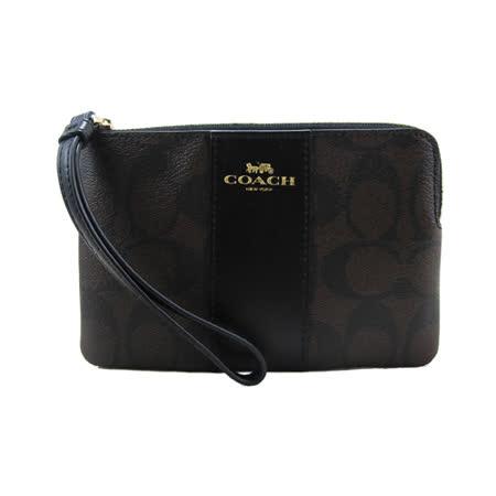 COACH 送原廠提袋-新款PVC手拿包(深咖)