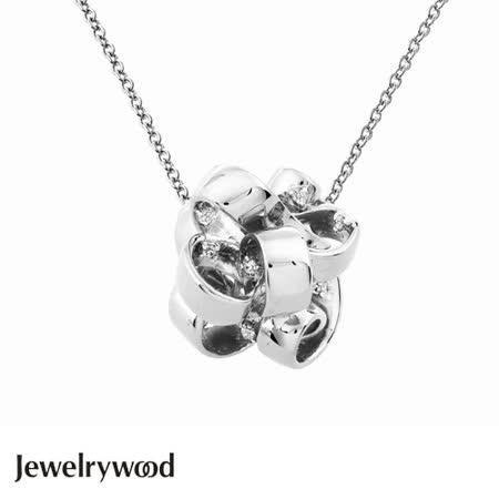 Jewelrywood 純銀法式緞帶花結晶鑽項鍊