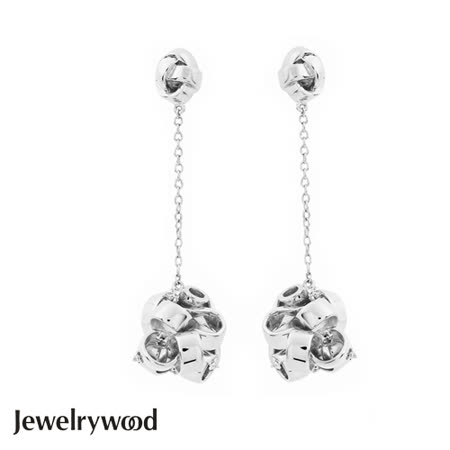 Jewelrywood 純銀法式緞帶花結晶鑽耳環