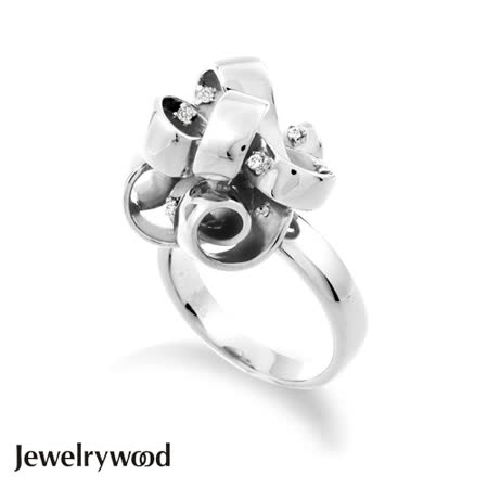 Jewelrywood 純銀法式緞帶花結晶鑽戒指