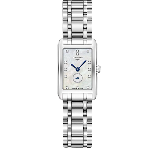 LONGINES 浪琴 DolceVita 小秒針真鑽石英女錶-珍珠貝x銀/21mm L52554876