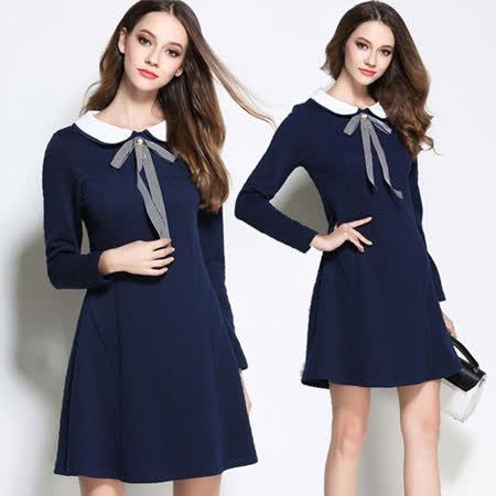 【麗質達人中大碼】7001藍色娃娃領洋裝(XL-5XL)