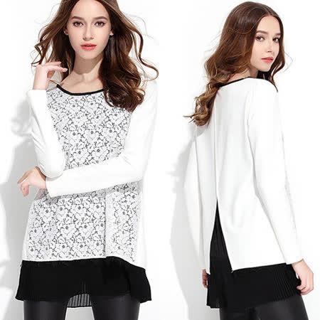 【麗質達人中大碼】2047白色蕾絲拼接長版上衣(XL-5XL)