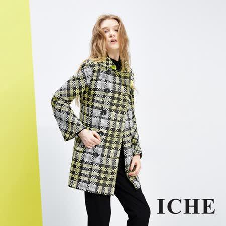 ICHE衣哲 格紋翻領雙排釦長版大衣