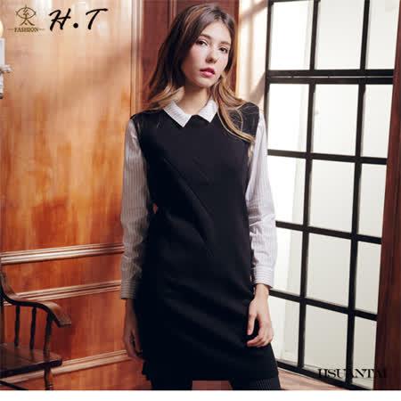 玄太-簡約百搭織紋針織長版背心(黑)