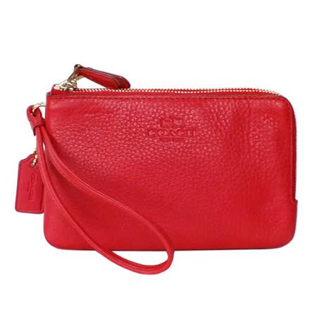 COACH紅色荔枝紋全皮雙層萬用手拿包