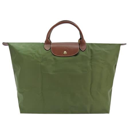 LONGCHAMP LE PLIAGE短把手提旅行袋(L/軍綠)