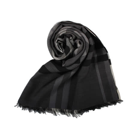 BURBERRY經典格紋漸層色羊毛絲綢圍巾-炭灰色