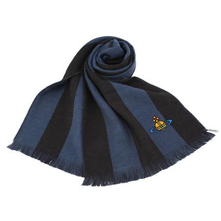 Vivienne Westwood星球logo撞色條紋純羊毛圍巾-藍黑色
