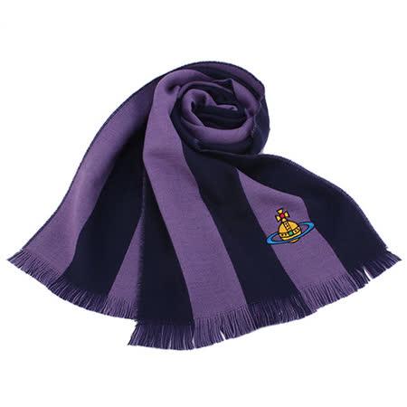 Vivienne Westwood星球logo撞色條紋純羊毛圍巾-紫色
