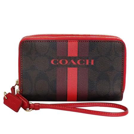 COACH深咖啡C Logo紅邊條紋塗漆雙層掛式中夾