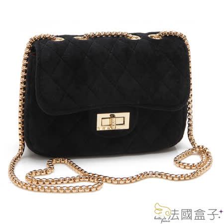 【法國盒子】俏麗甜姐兒時尚鍊飾百搭包(黑色)香香小包