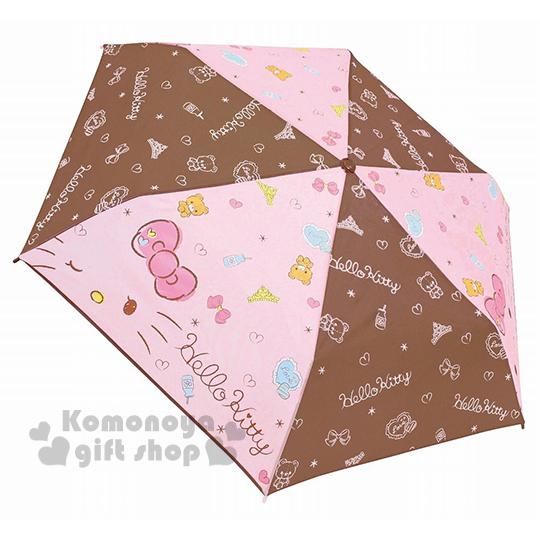 〔小禮堂〕Hello Kitty 彎把折疊雨陽傘~粉.棕把.大臉.眨眼~附收納袋