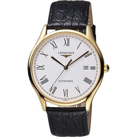 LONGINES 浪琴 Lyre琴韻系列羅馬機械腕錶-白x金框/38mm L49602112