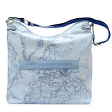 Alviero Martini 義大利地圖包 PU休閒手提側背包(大)-地圖藍