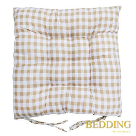 【BEDDING】綁帶式格子餐桌椅墊-可可棕