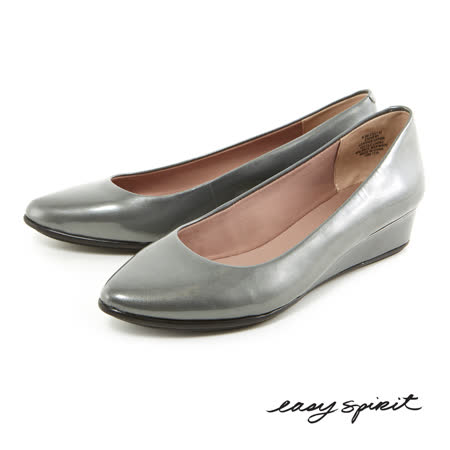 Easy Spirit--百搭經典素色真皮楔型鞋--漆皮灰